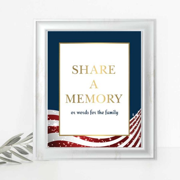Military Funeral Decor Memorial Table Sign