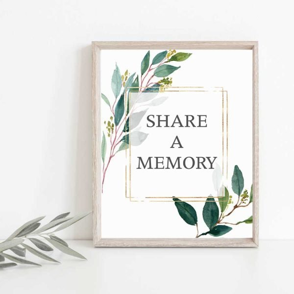 Funeral Share a Memory Signs With Greenery
