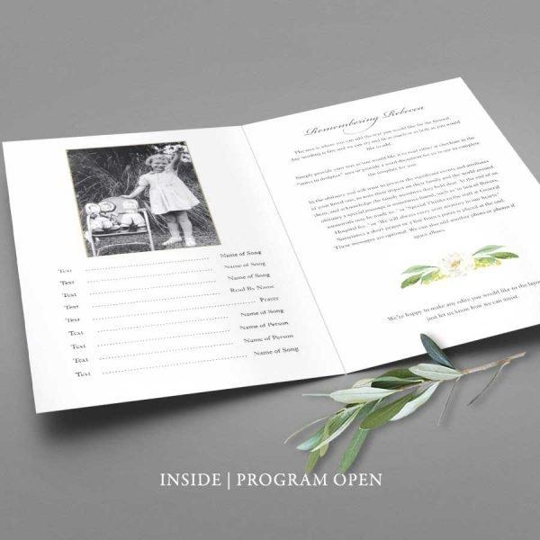 Floral Memorial Service Program Template