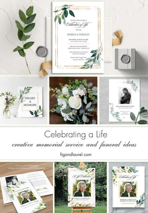 Greenery Memorial Service Invitations Gold Accents