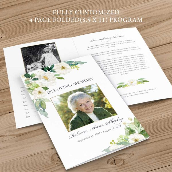 White Floral Memorial Service Program with Greenery