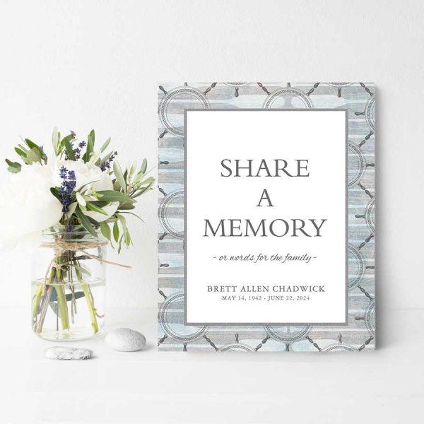Printable Share A Memory Sign Nautical Theme