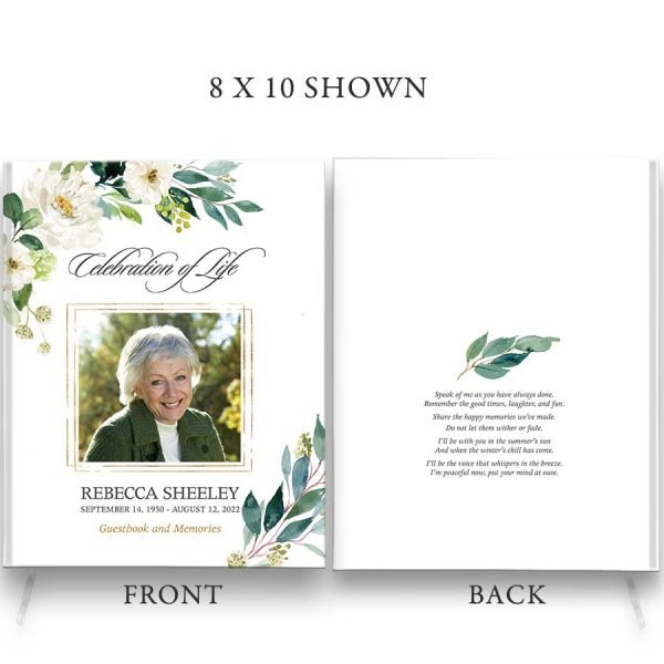 Funeral Guest Books Photo Keepsake Greenery