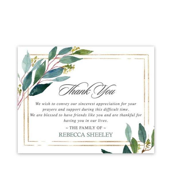 Memorial Service Thank You Cards Custom Text