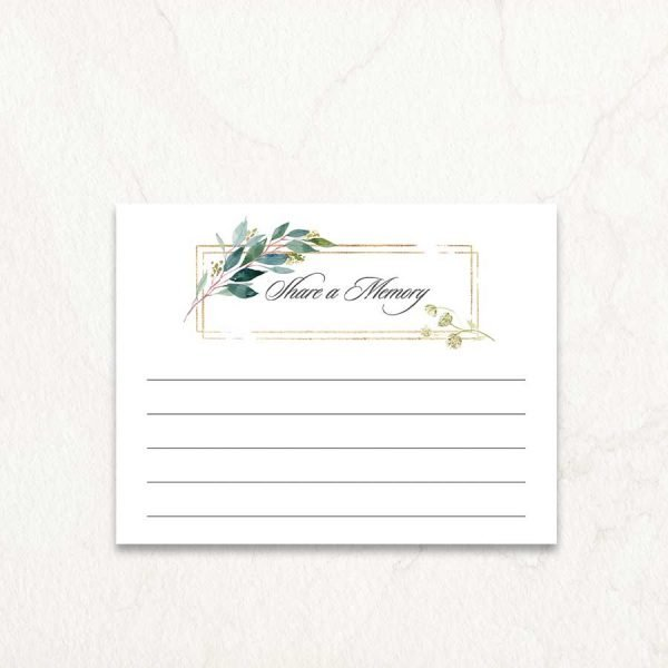 Elegant Funeral Memory Cards For Guest Tributes