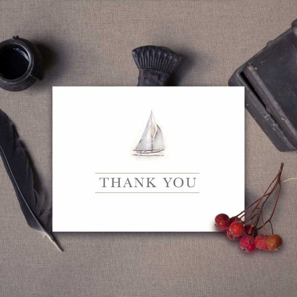 Folded Thank You Card Template Sailboat Theme