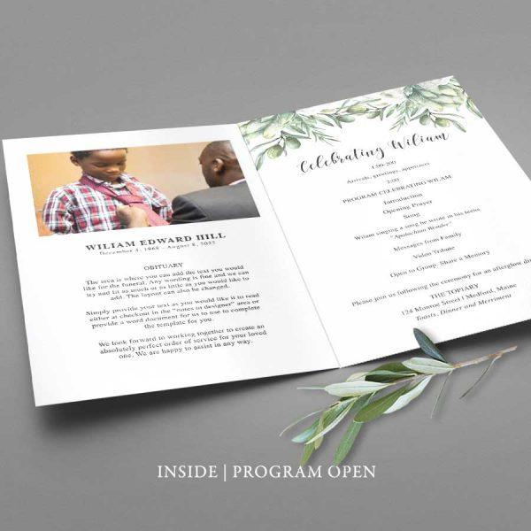 Funeral Service Program Leaves in Watercolor