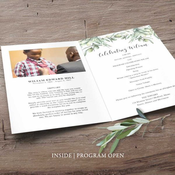Photo Funeral Program Template with Greenery