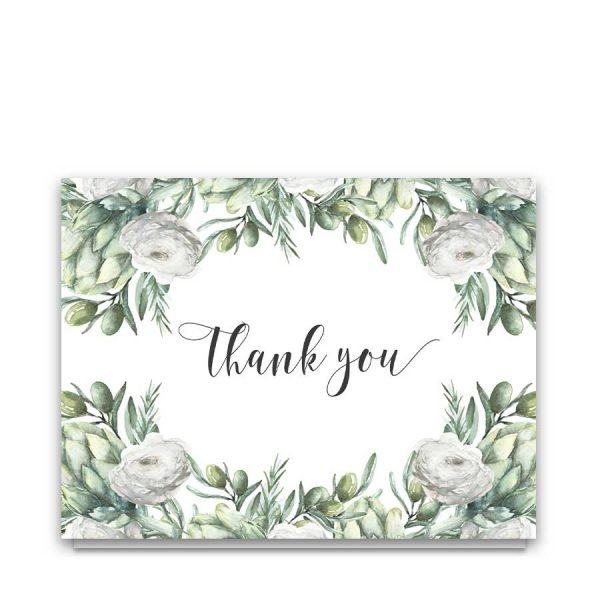Thank You Cards Folded Greenery