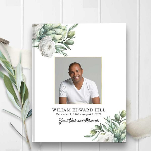 Photo Funeral Guest Book Greenery and Florals