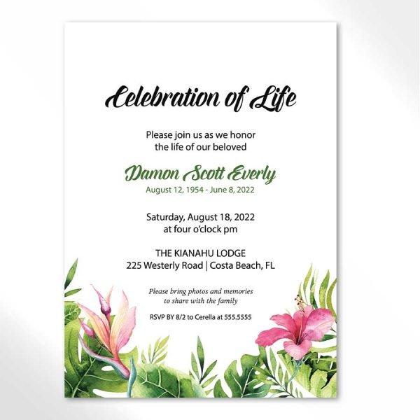 Celebration of Life Invitation Tropical Theme
