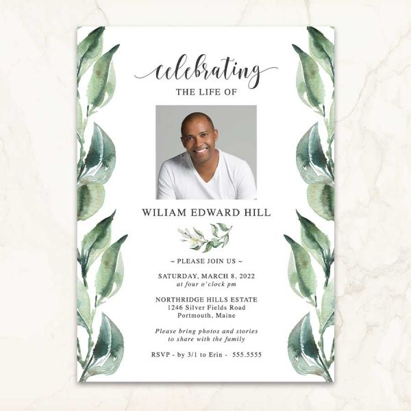 Funeral Invitation Photo and Greenery Leaves