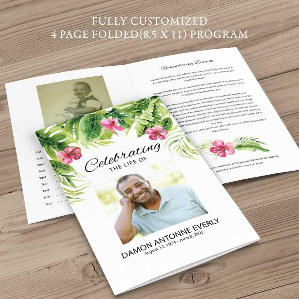 Tropical Funeral Program Template Palm Leaves