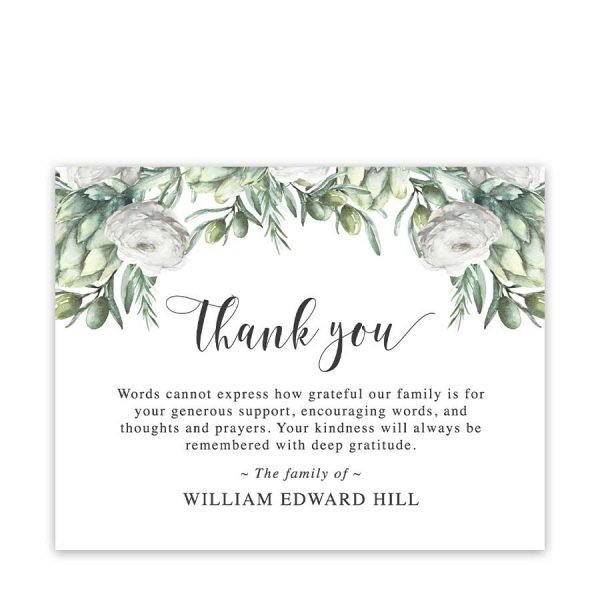 Bereavement Funeral Cards Greenery Florals