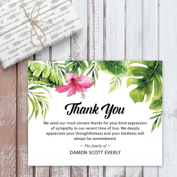 Palm Leaves Thank You Card Template Printable