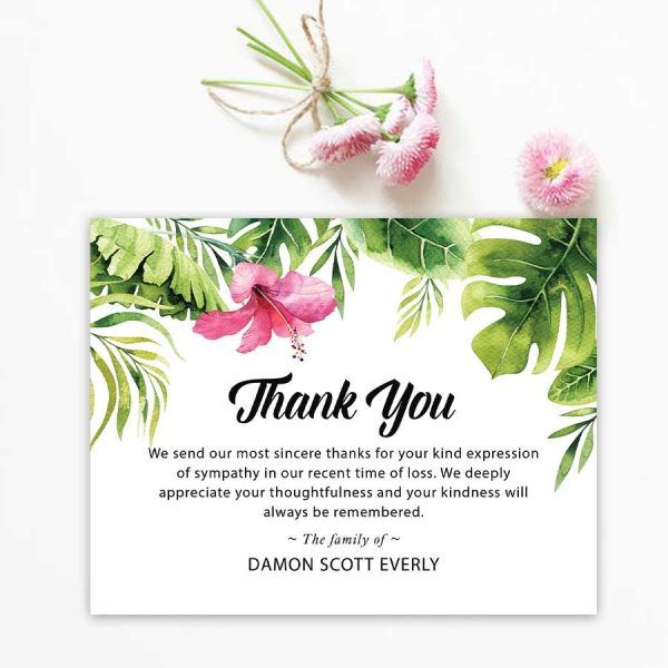 Palm Leaves Funeral Thank You Cards
