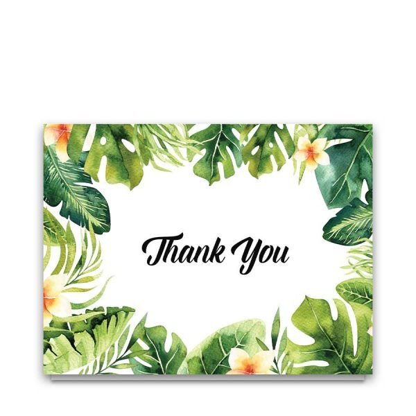 Thank you cards tropical leaves