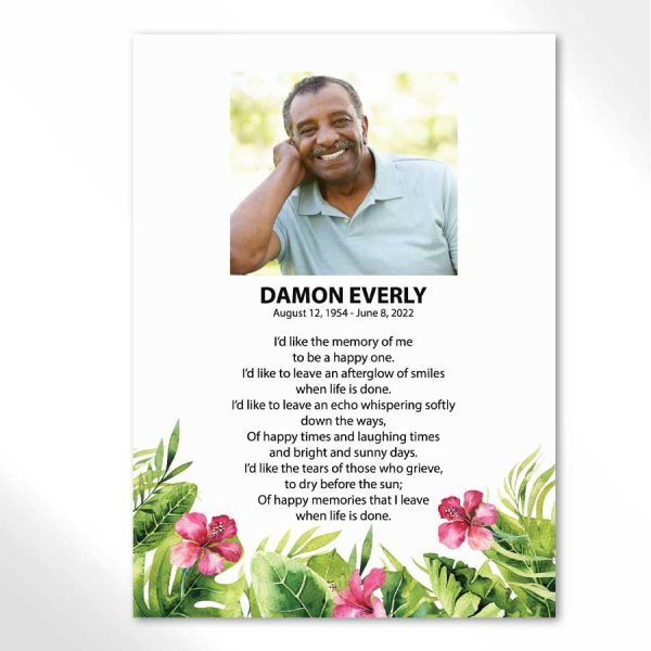 Memorial Card Keepsake Tropical Palm Leaves