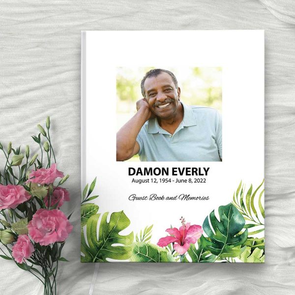 Funeral Guest Books Tropical Palm Leaves Theme