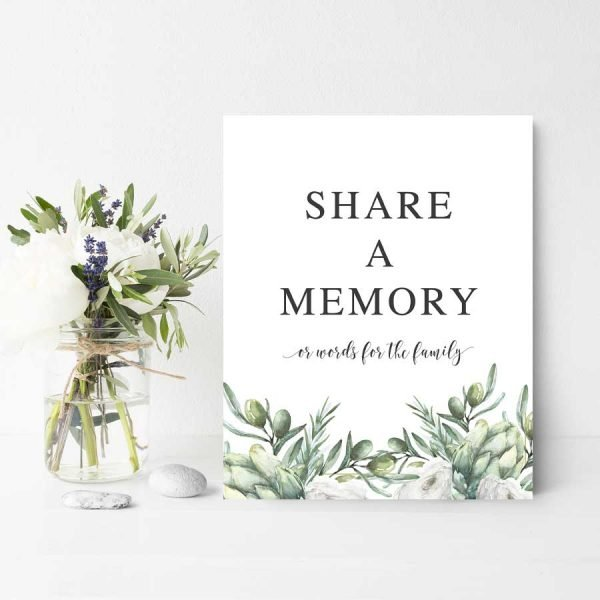 Share a Memory Sign For Funeral with Greenery