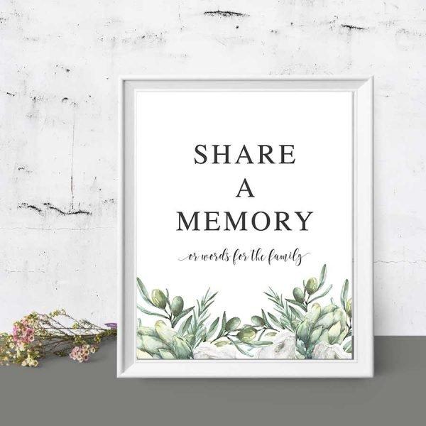 Memorial Service Memory Sign Template