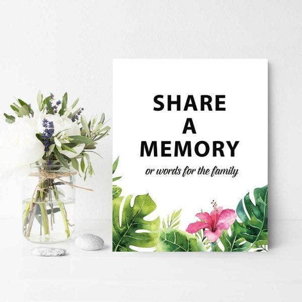 Share a Memory Sign with Palm Leaves