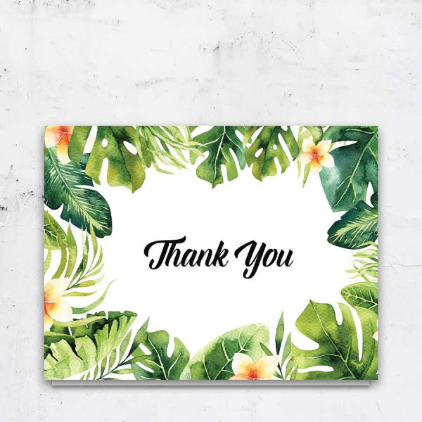 Tropical Palm Leaves Funeral Card Template