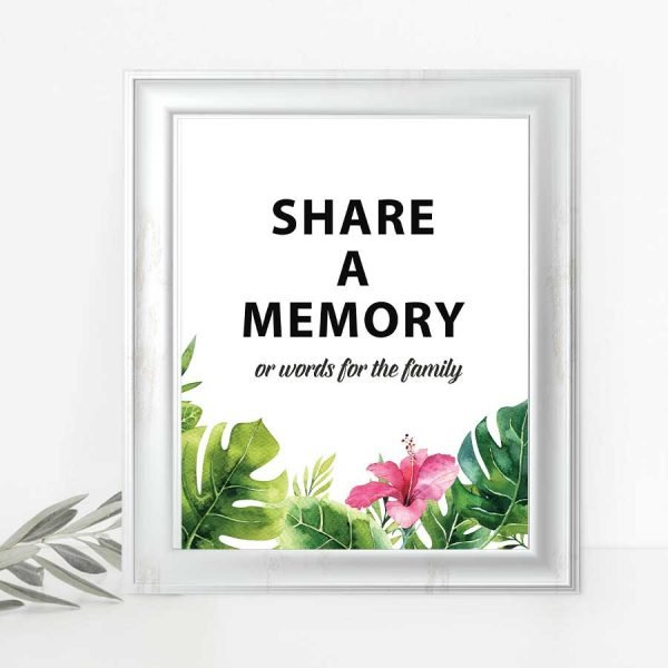 Tropical Memorial Service Memory Sign Poster