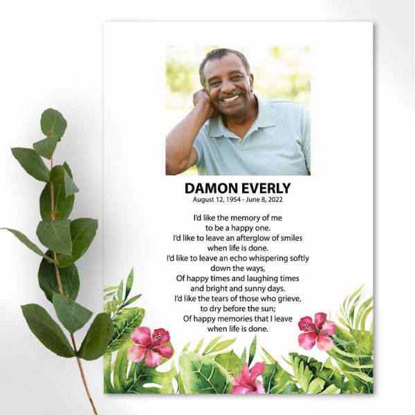 Photo Memorial Cards with Tropical Palm Leaves