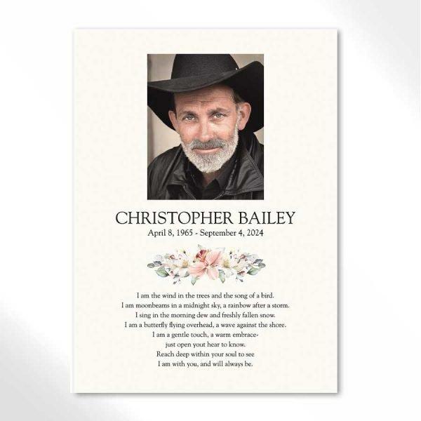 Funeral Photo Keepsake Card with Custom Poem
