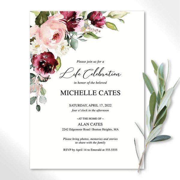 Elegant Funeral Invitation with Florals