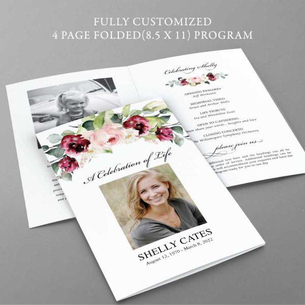 Funeral Program Design Layout Floral Photo