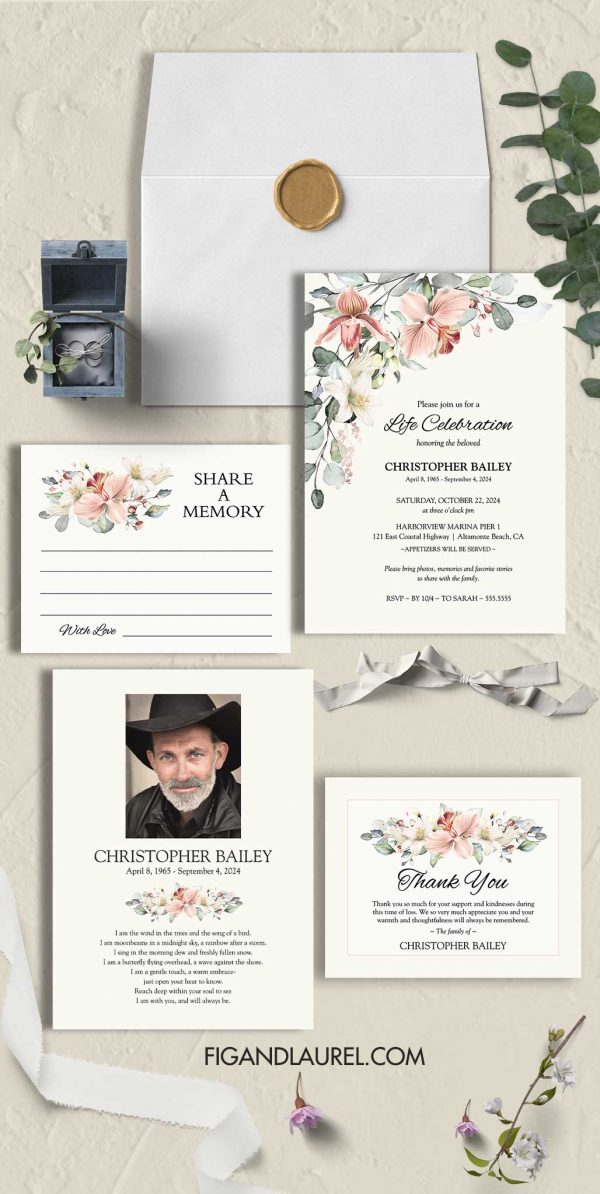 Lily Celebration of Life Invitation Template