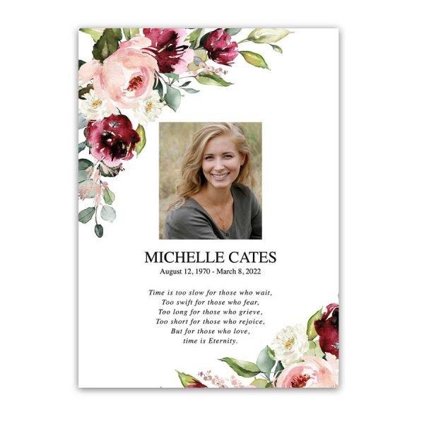Funeral Photo Keepsake with Elegant Florals