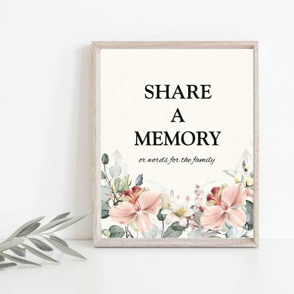 Funeral Memorial Table Idea Share A Memory Sign