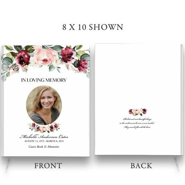 Floral Photo Funeral Guest Book