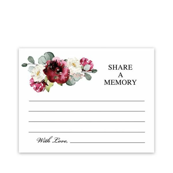 Funeral Memory Cards Floral and Greenery
