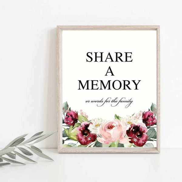 Memorial Share a Memory Table Sign Template