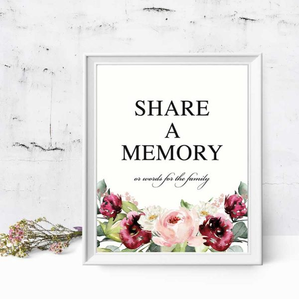 Memorial Service Memory Table Signs