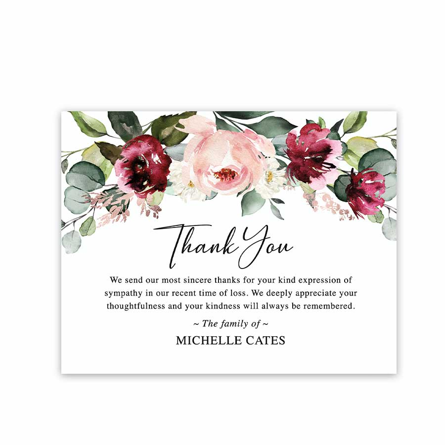 floral funeral thank you card template printable with
