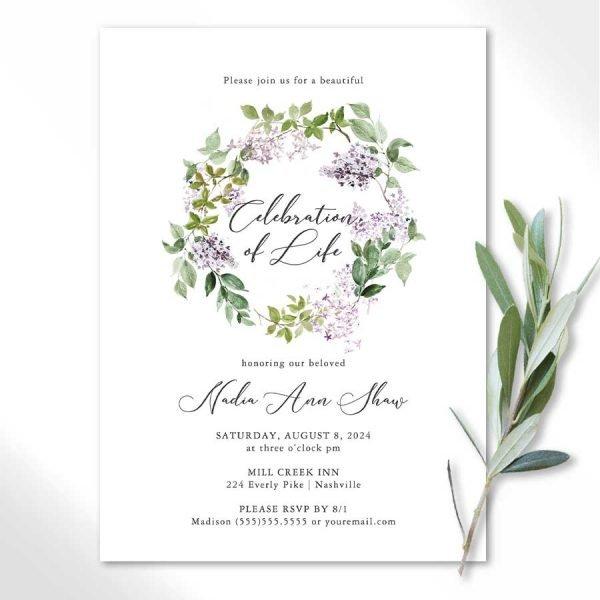Memorial Service Invitation with Lilacs