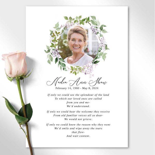 Funeral Memorial Keepsake Photo Card