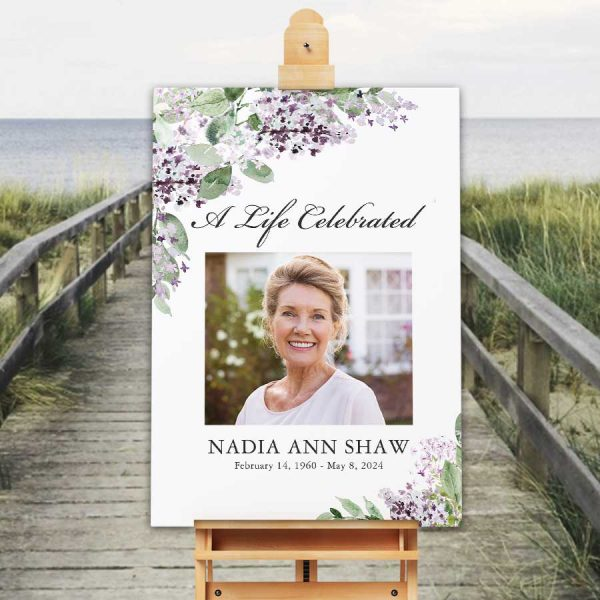 Funeral Welcome Sign Lilacs with Photo