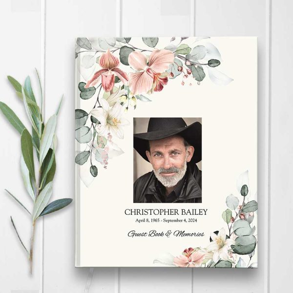 Memorial Service Guest Book with Photo