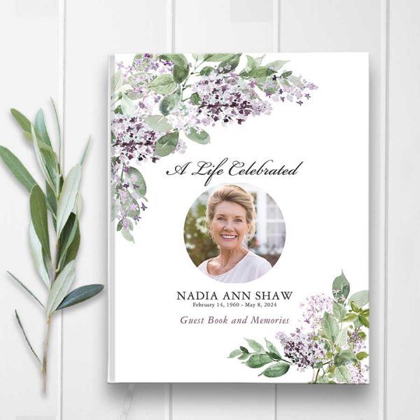 Funeral Guest Book Lilacs with Photo Design