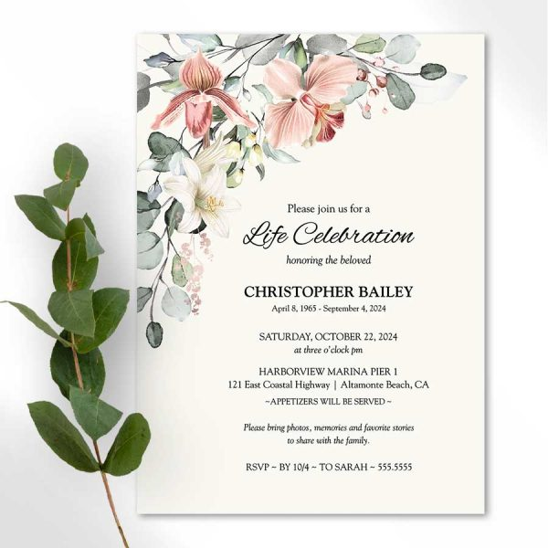 Floral Celebration of Life Invitation Lily