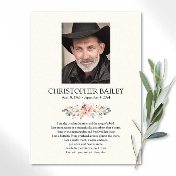Funeral Poem Card with Photo