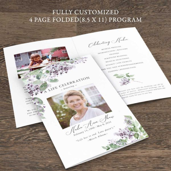 Funeral Memorial Pamphlet Lilac Theme