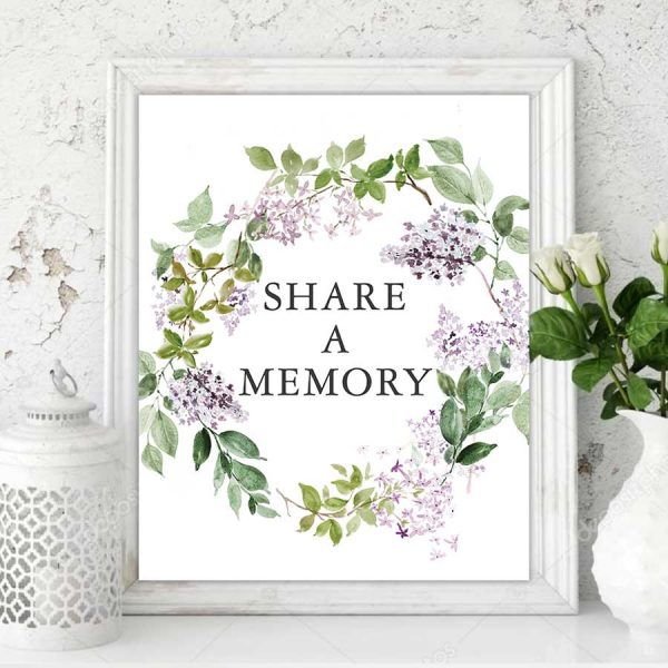 Lilac Funeral Memory Table Sign Printed