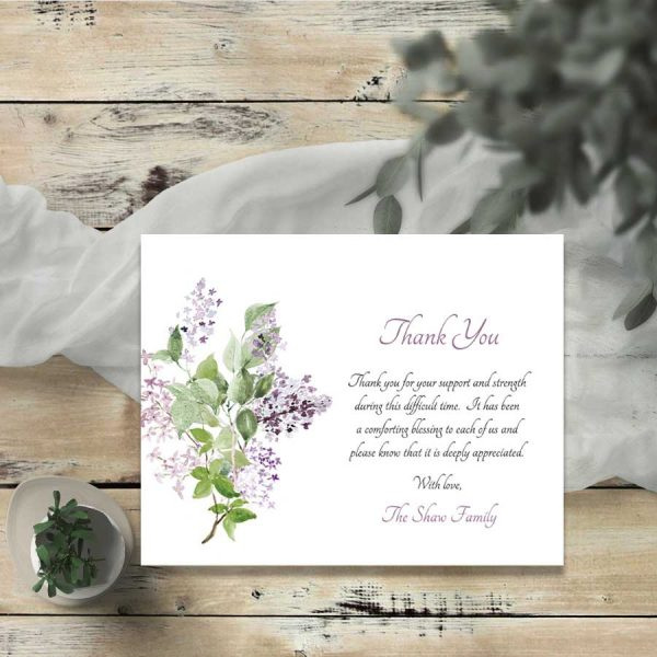 Sympathy Thank You Card Lilac Customized